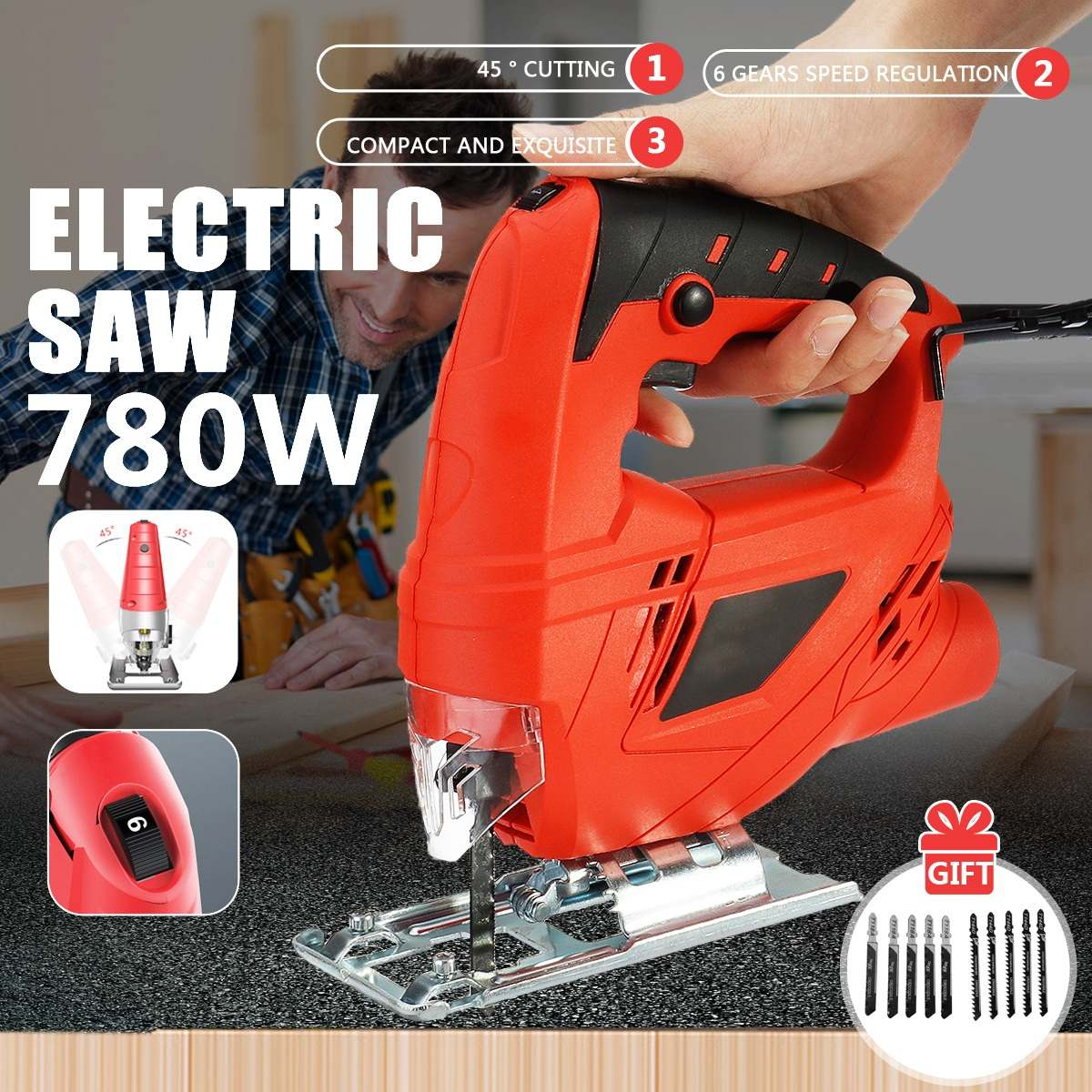 780W Jig Saw 6 Variable Speed Electric Saw With 10 Pieces Blades Multifunctional Jigsaw Electric Saws for Woodworking Power Tool