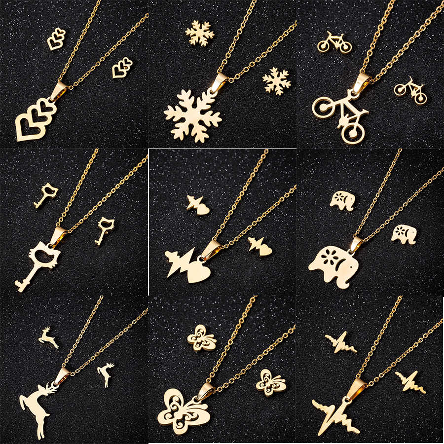yiustar Sweet Animal Necklaces Jewelry Sets Gold Color Stainless Steel Earring For Women Deer Moon Cat Heart Necklaces Earrings