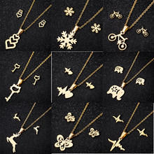 yiustar Sweet Animal Necklaces Jewelry Sets Gold Color Stainless Steel Earring For Women Deer Moon Cat Heart Necklaces Earrings(China)