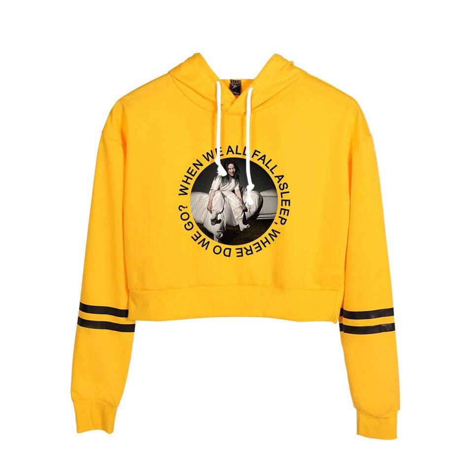 Women Fashion Crop Top Hoodie Billie Eilish Hooides And Sweatshirts Long Sleeve Shirt Harajuku Hoody Ladies Clothes Coat