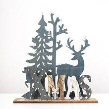 1 pçs de madeira elk decoração de mesa decorações de natal criativo tridimensional árvore de natal ornamentos decoração de casa
