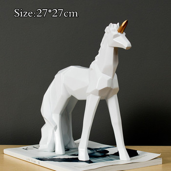 [HHT] Nordic Style Geometric Unicorn Ornaments Resin Crafts Home Decoration Accessories Living Room Entrance Furnishings
