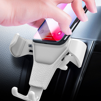 Universal Car Phone Holder Leather Gravity Car Bracket Air Vent Stand Mount For iPhone 8 XS XR Samsung Support Telephone Voiture image