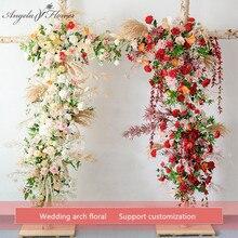 사용자 정의 웨딩 아치 장식 꽃꽂이 테이블 꽃 공 센터 피스 꽃 파티 무대 야외 장면 레이아웃 꽃 벽