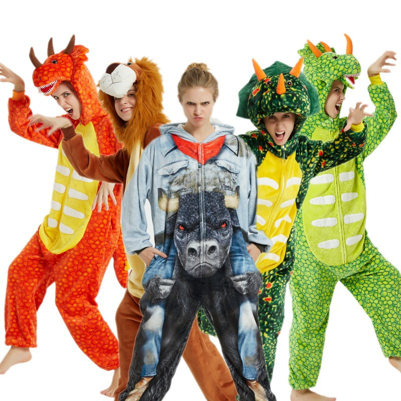 Green triceratops Homewear   Pajamas   Women Kigurumi Unicorn   Pajamas     Sets   Flannel Animal Winter unicornio Nightie Pyjamas Sleepwear