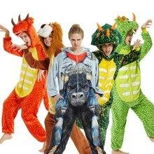 ירוק טריצרטופס Homewear פיג מה נשים Kigurumi Unicorn פיג מה סטי פלנל בעלי החיים חורף unicornio כתנות פיג הלבשת