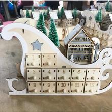 Advent-Calendar Christmas-Party-Decor Wooden Countdown Sleigh 24-Drawers House Drop-Ship