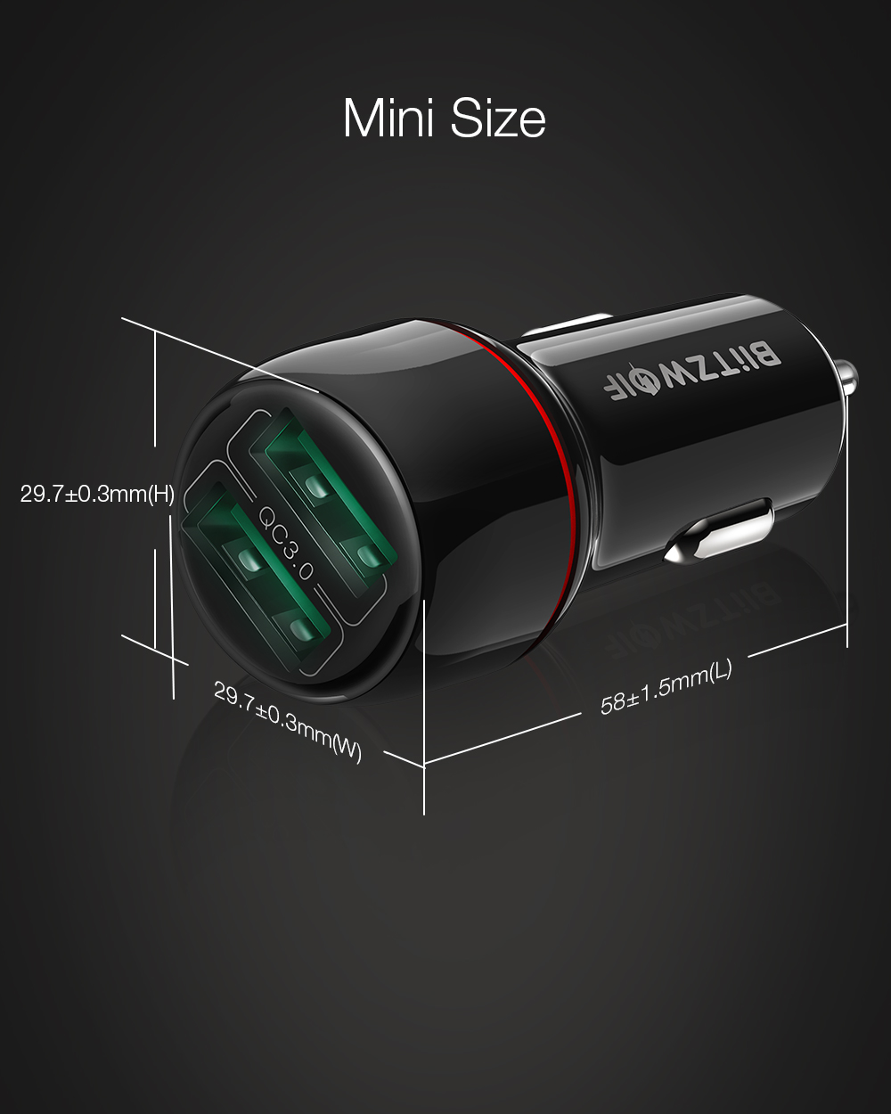BlitzWolf 18W Dual QC3.0 USB Port Mini Fast Charging Car Charger for iPhone 11 Pro XS / Xiaomi / Pocophone F1 Mobile Phone