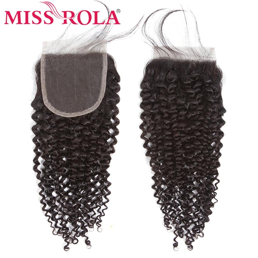 Miss Rola Lace Closure 4x4 Natural Color Brazilian Human Hair Three Part Closure Kinky Curly Hair Remy Hair