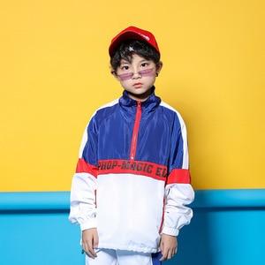 Image 4 - Детская синяя и белая куртка, штаны для бега, одежда в стиле хип хоп, костюм для джазовых танцев для девочек и мальчиков, уличная одежда для бальных танцев