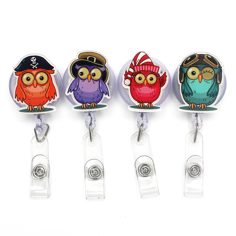 Creative Newest Owl Resin Retractable Badge Reel Nurse Doctor Student Exhibition ID Card Clips Badge Holder Stationery