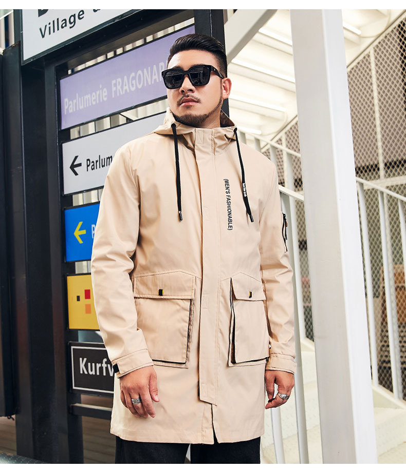Vodof Men Long Trench Coat Jacket Polyester Black Trench Coats Mens Spring Jackets And Coats 2019 Jackets For Men Big Size