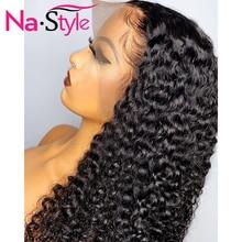 13x4 레이스 프런트 인간의 머리 가발 여성을위한 곱슬 인간의 머리 가발 긴 자연 물결 가발 페루 머리 150% 레미 인간의 머리카락