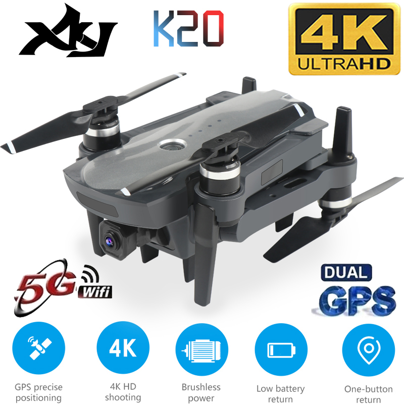 XKJ New <font><b>Drone</b></font> K20 <font><b>Brushless</b></font> <font><b>Motor</b></font> 5G GPS <font><b>Drone</b></font> With 4K HD Dual Camera Professional Foldable Quadcopter 1800M RC Distance Toy image