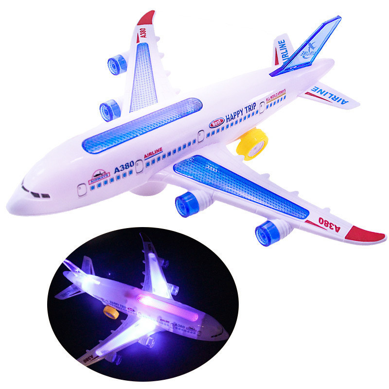 Baby Boy Aircraft With Led Lights Music Airplane Kids DIY Assembled Plane Model Electric Toys For Children Birthday Gift
