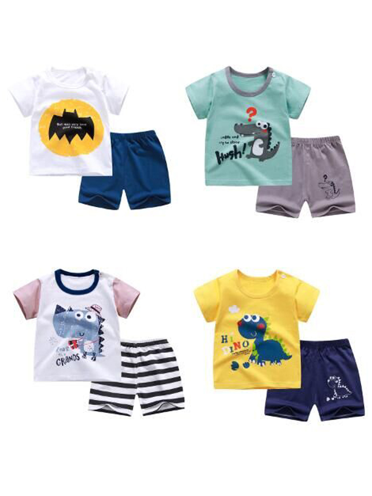 Cute T-Shirt Suit Shorts Stuff Kids Dinosaur Girl Boy Soft Summer Baby Children Cotton