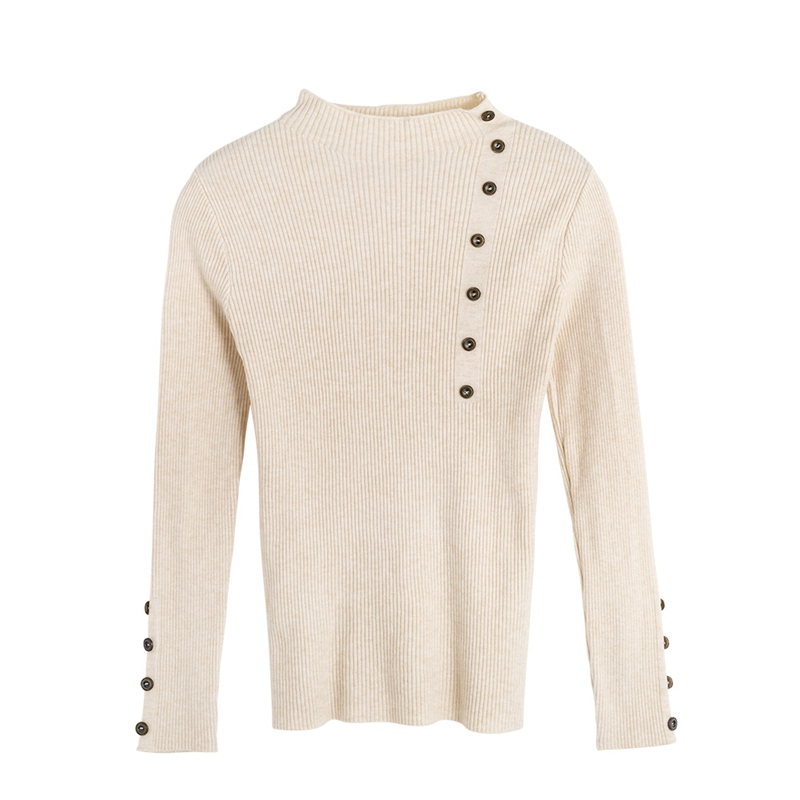 2020 New Hot Autumn&Winter  Knitted Sweaters Slim Long Sleeve Tops O-Neck  Buttons Solid Color Sweaters