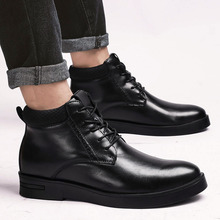 Men Casual Shoes Breathable Black High Top  Winter Autumn Leather Fashion Mens Flat Business shoes *6630