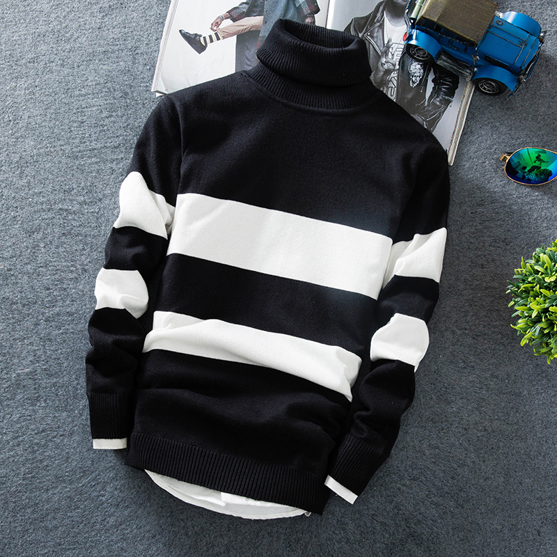 Cashmere Pullover Men 2019 New Fashion High Collar Thin Sweater Autumn Men's Sweater Casual Men's Loose Knit Warm Sweater