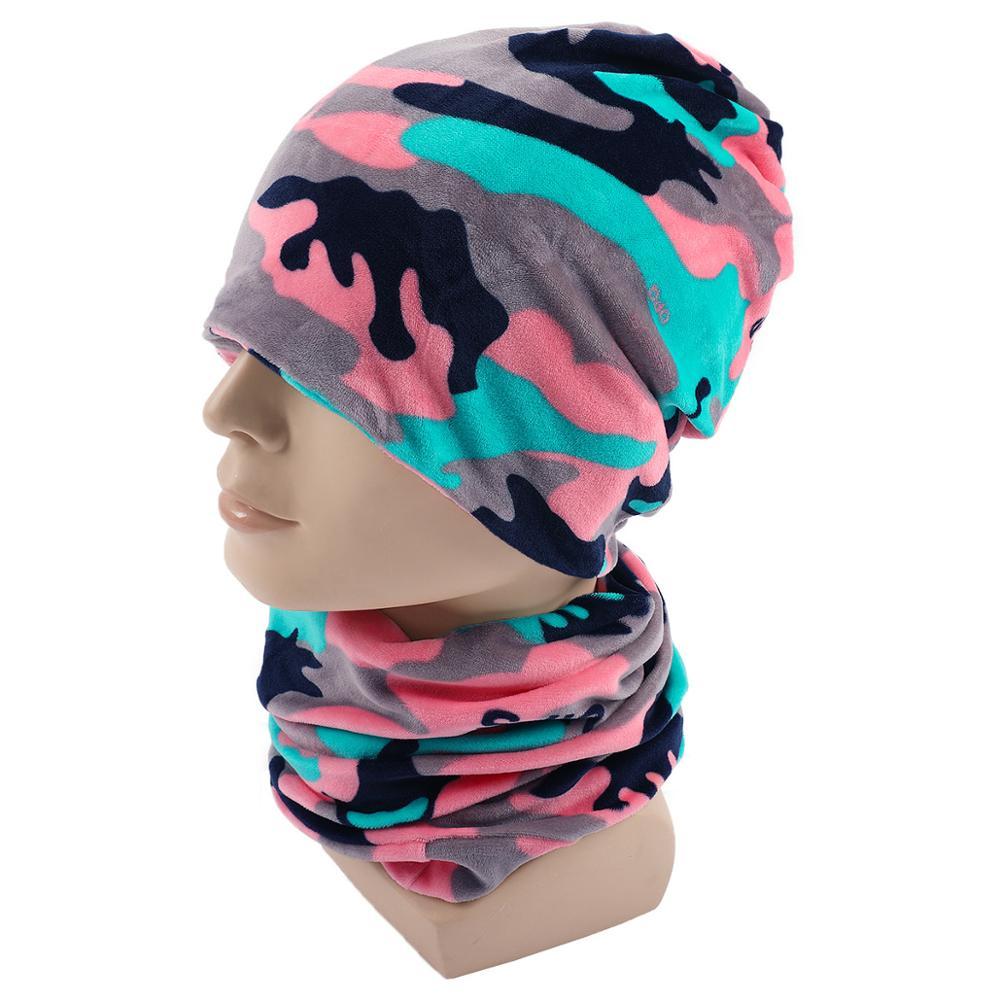 New Casual Women Men Beanies Hat Scarf Autumn Winter Velvet Women Head Cap Sets Warm Men Plush Hip-hop Scarf Hats 2pcs/set