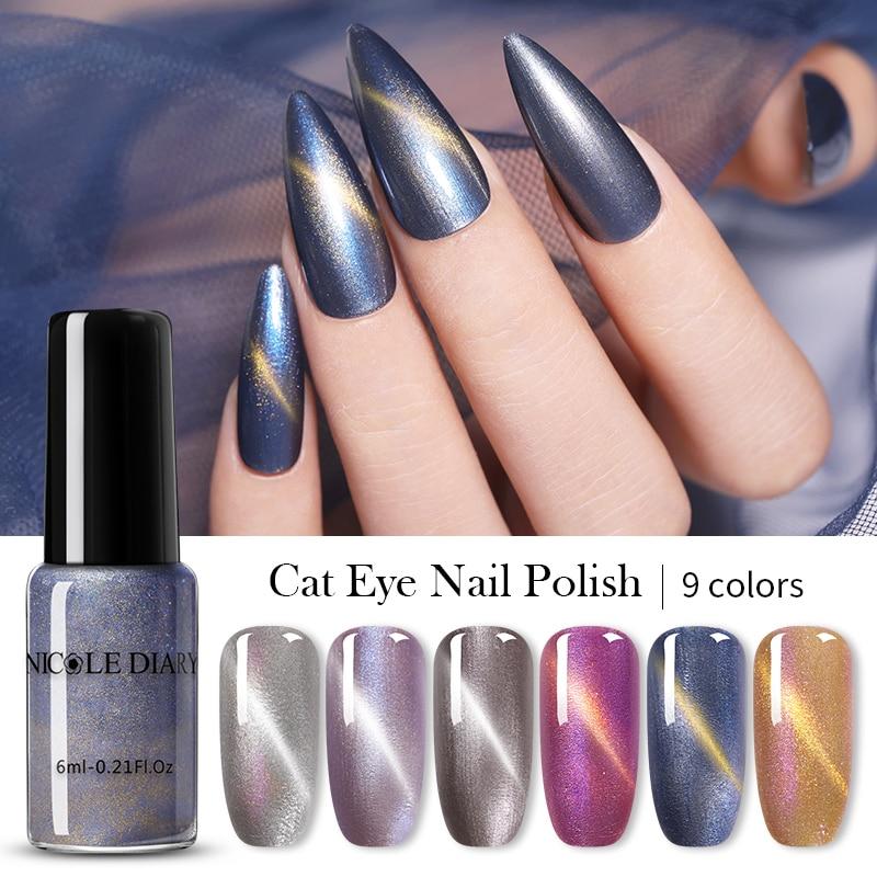 NICOLE DIARY Magnetic Nail Polish  Colorful Sequins Soak Off Nail Art Polish Lacquer Varnish Nail Designs DIY 6ml
