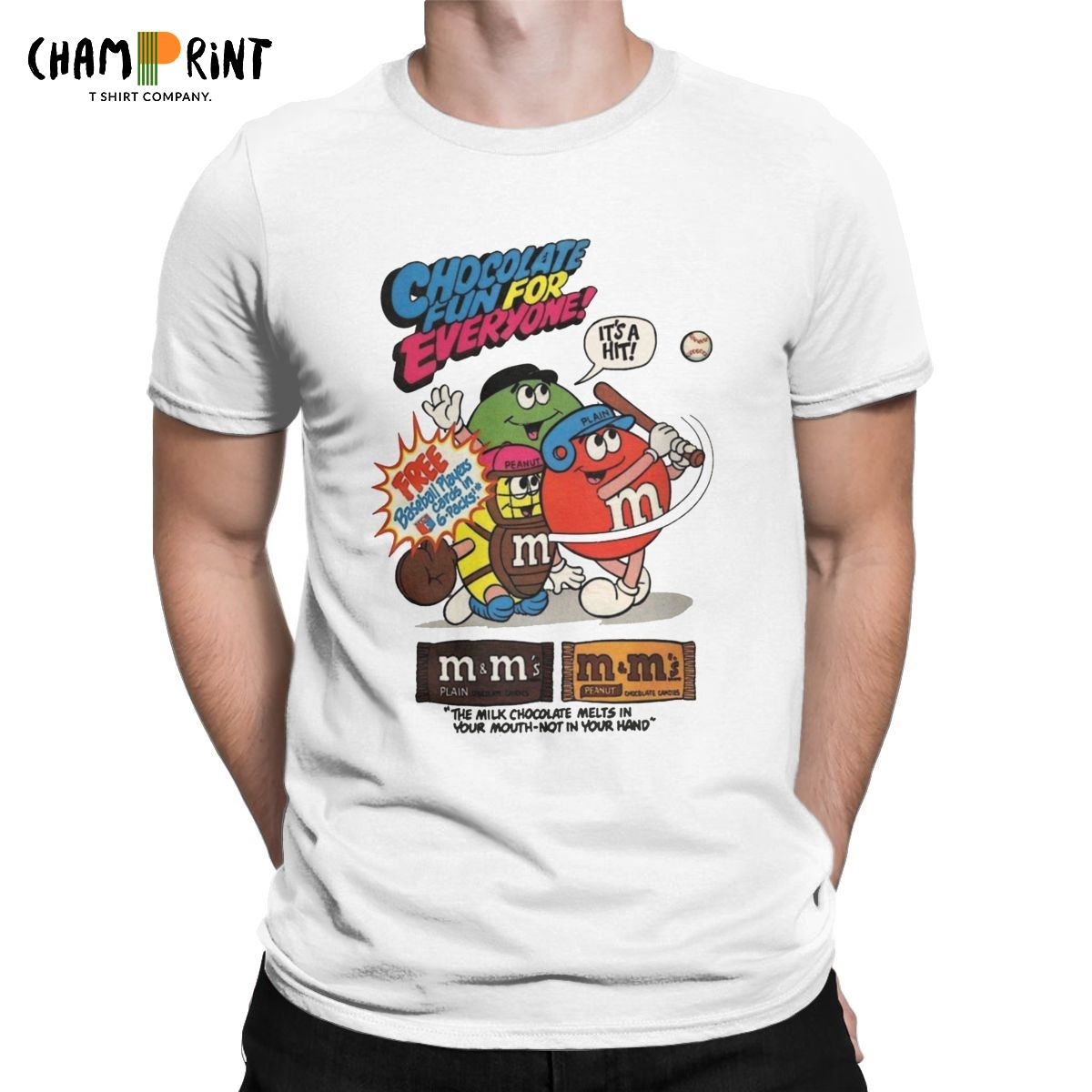 M&M's Baseball Men's T Shirt Chocolate Candy Character Amazing Tees Short Sleeve Round Collar T-Shirts Cotton Big Size Clothes