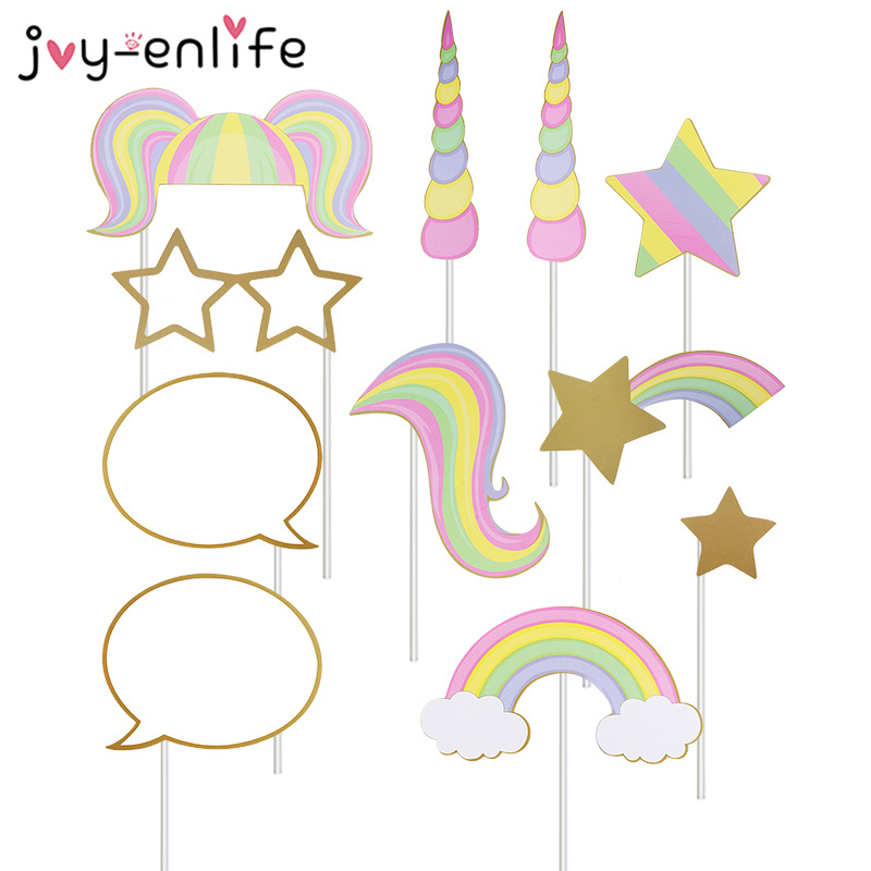 JOY-ENLIFE Unicorn Party Photo Props Tableware Plate Straw Banner Baby Shower Birthday Party Decoration Unicorn Party Supplies