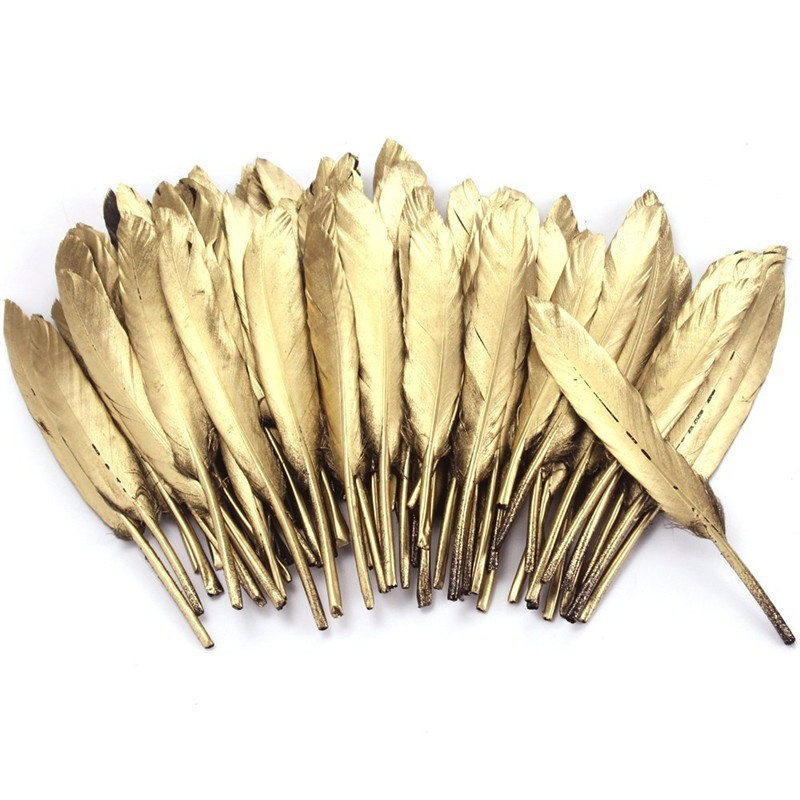 10pcs/bag Gold Plated Feathers 5-7inches for Christmas & Wedding Party Decoration & DIY Handicrafts Accessories
