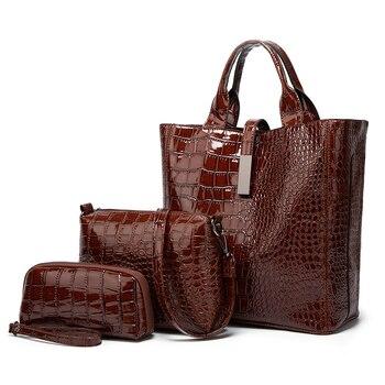 Bolso de mano para mujer, bandolera de piel sintética 2020 de lujo, 3 uds, bolso de mano cruzado, monedero, billetera para mujer
