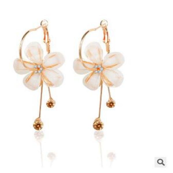 HOMEYU Vintage Black Zircon Simulated White Shell Pearl Earrings Drop Dangle Pierced Stud Earrings