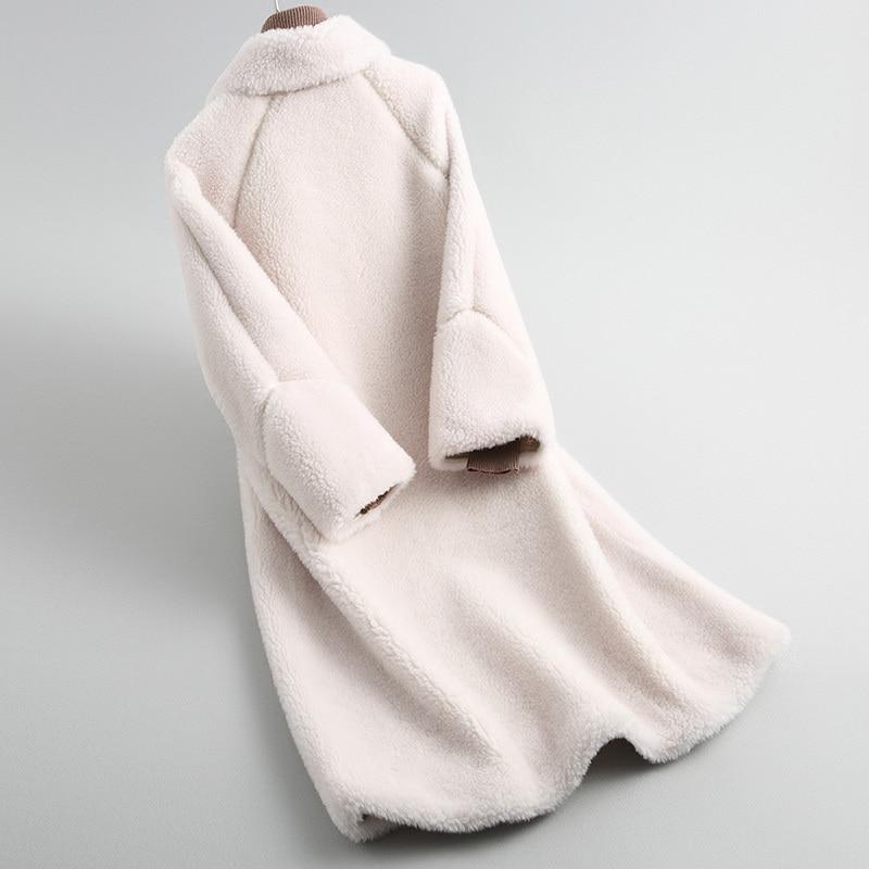 Real Korean Fur Coat Winter Coat Women Clothes 2020 Elegant Ladies Fashion Warm Long Wool Jacket Hiver Overcoat 19019