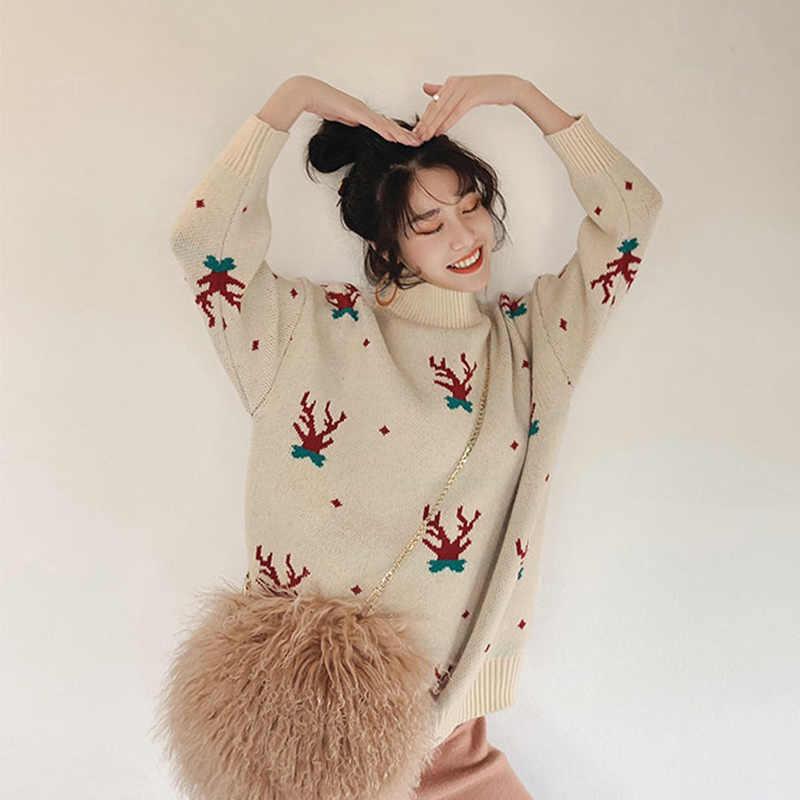 Autumn Winter O Neck  Women's Sweater Pullover Chrismas Snowman Pattern Knitted Sweater 2020 Spring Loose Reindeer Ladies Jumper