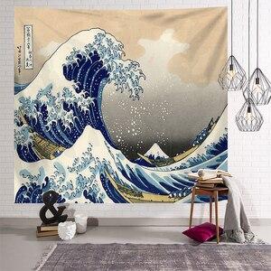 Image 3 - Japonais Kanagawa vagues imprimé tapisserie suspendue baleine Arowana cerf serpent Totem tenture murale tapisseries Boho couvre lit couverture