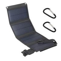 AMS-15W 5V 2A 태양 전원 Usb 접이식 태양 전지 패널 캠핑 하이킹 전화 충전기-블랙