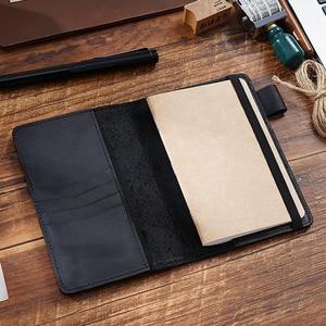 Image 4 - Feld Notizen Abdeckung Tägliche Tragen Memo Buch Echtem Leder Notebook Planer Karte halter Tasche Vintage Schreibwaren