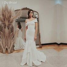 Vestido de novia de crepé con cuello barco Simple y hombros descubiertos con falda escalonada