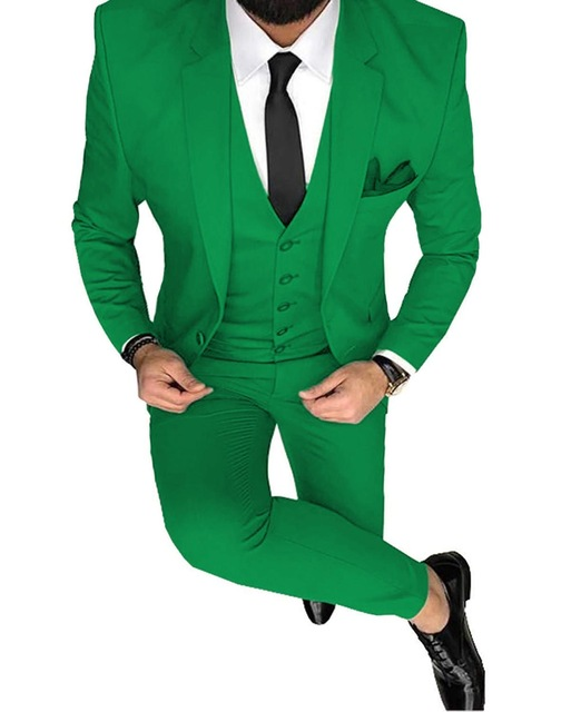 Fashion Men Green Blue 3-Piece Slim Fit Notch Blazer Classic Tuxedo Groomsmen For Party 2020 New Gala Suit(Blazer+vest+Pants)