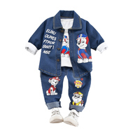 PAW PATROL Boys Spring and Autumn Sets Clothes Baby Children's Denim Three Piece Set Denim suit + T shirt