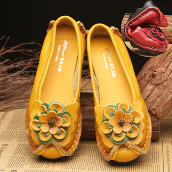 Design Genuine Leather Flats Female Loafers Flower Mom Summer Shoes 2020 New Arrival Womens