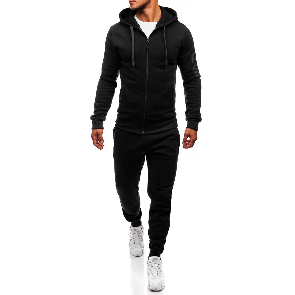 ZOGAA Men Tracksuit Sets Two Piece Hoodies Sweatshirts Tops And Pants Men Track Suit Casual Solid 2 Piece Set Men Sweat Suit
