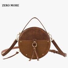 Vintage Scrub Leather Round Designer Crossbody Bag For Women 2019 PU Shoulder Bags Ladies Small Handbags Mini Tote