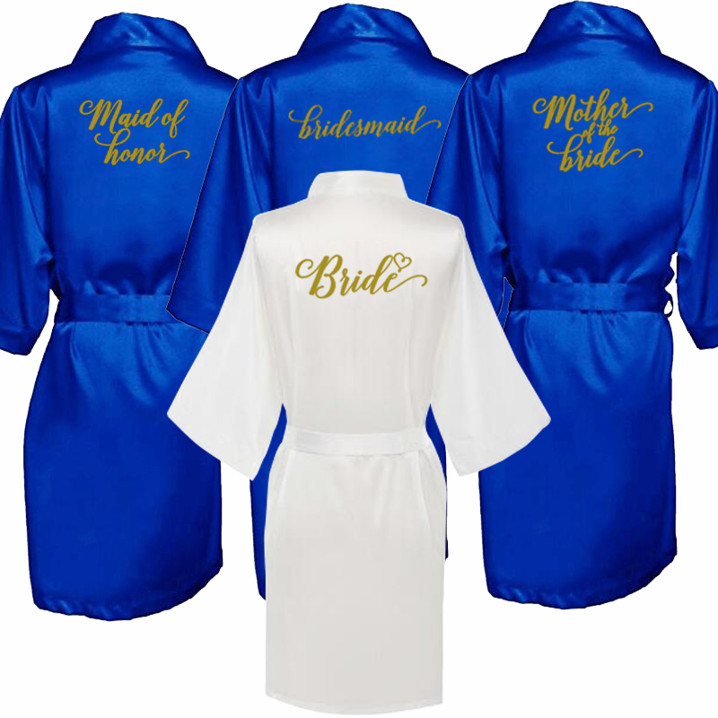 Sexy Royal Blue Robe Kimono Bridal Pajamas Wedding Robe Bridesmaid Matron Maid Of Honor Sister Mother Of The Bride Robes