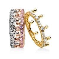 Горячая Настоящее серебро 925 проба, 3 цвета, Заколдованная корона, набор колец, повседневная одежда для женщин, модное роскошное кольцо, хоро...