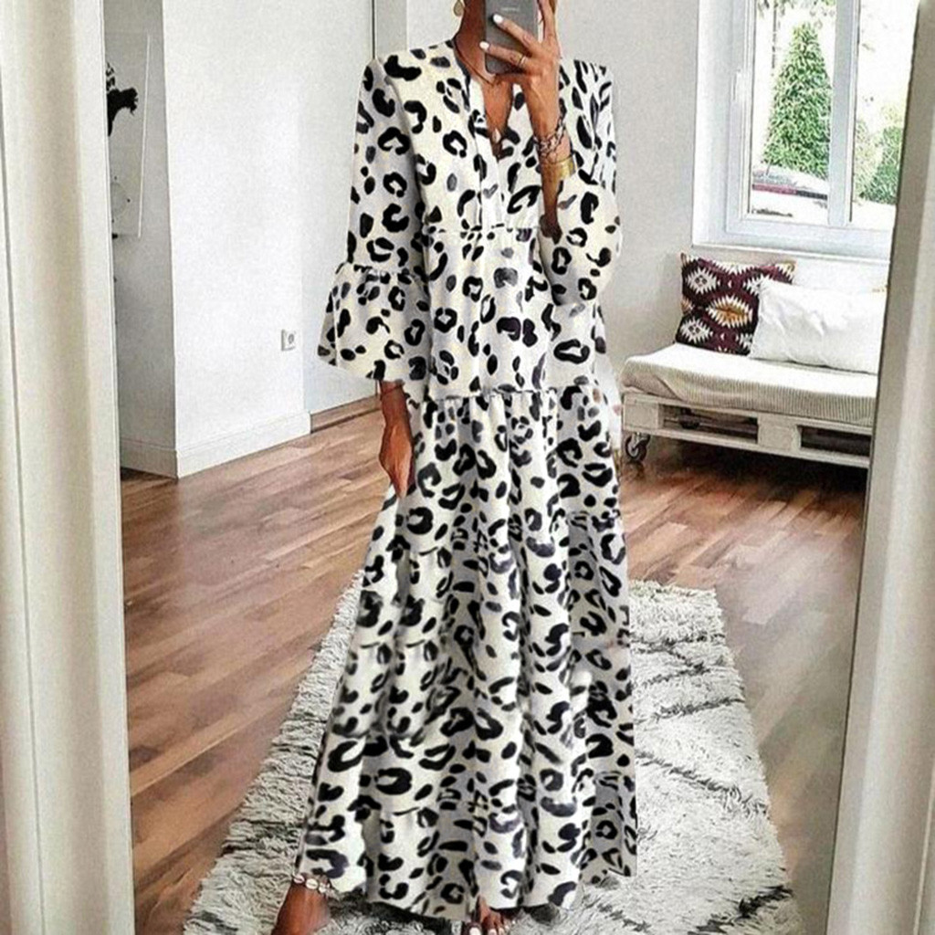 Hepburn Style Women Long Maxi Dress V Neck Leopard Print Flare Sleeve Dress