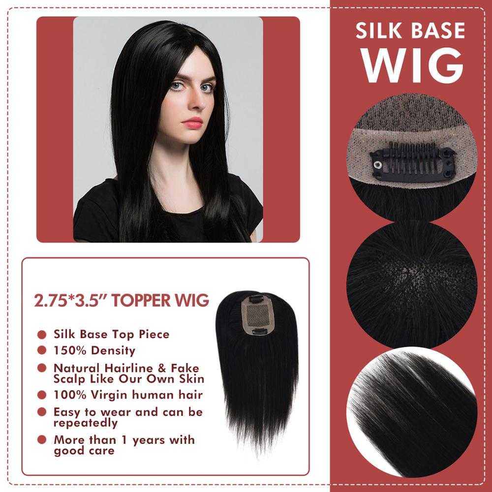 Neitsi Silk Clip On Topper Wigs PU + Fine Mono Net Natural Black Remy Human Hair Pieces Toupee For Women Salon Virgin Quality