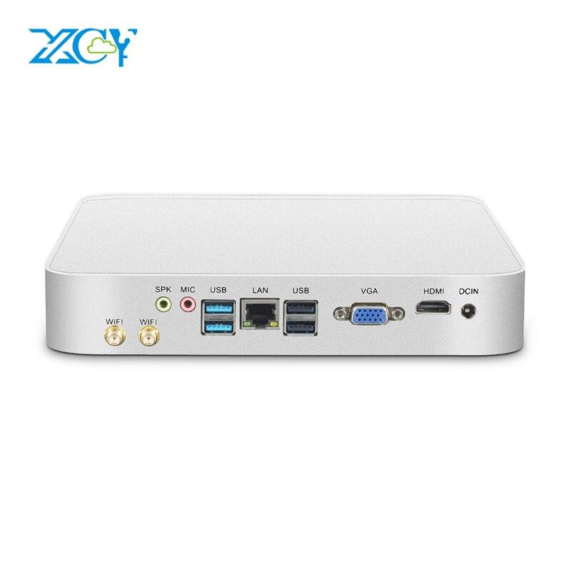 Xcy mini pc intel core i7 i3 i5 7200u 7500u win10 micro computador de escritório caixa de tv linux minipc hdmi vga wifi gigabit ethernet 6 xusb