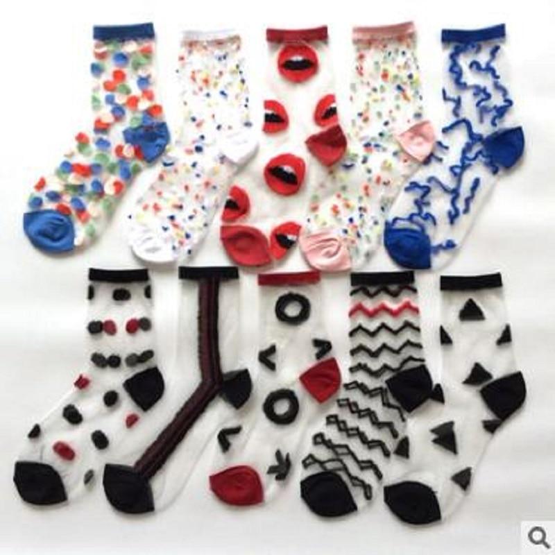 20 pçs = 10 pares moda feminina meias primavera e verão transparente fina bolinhas