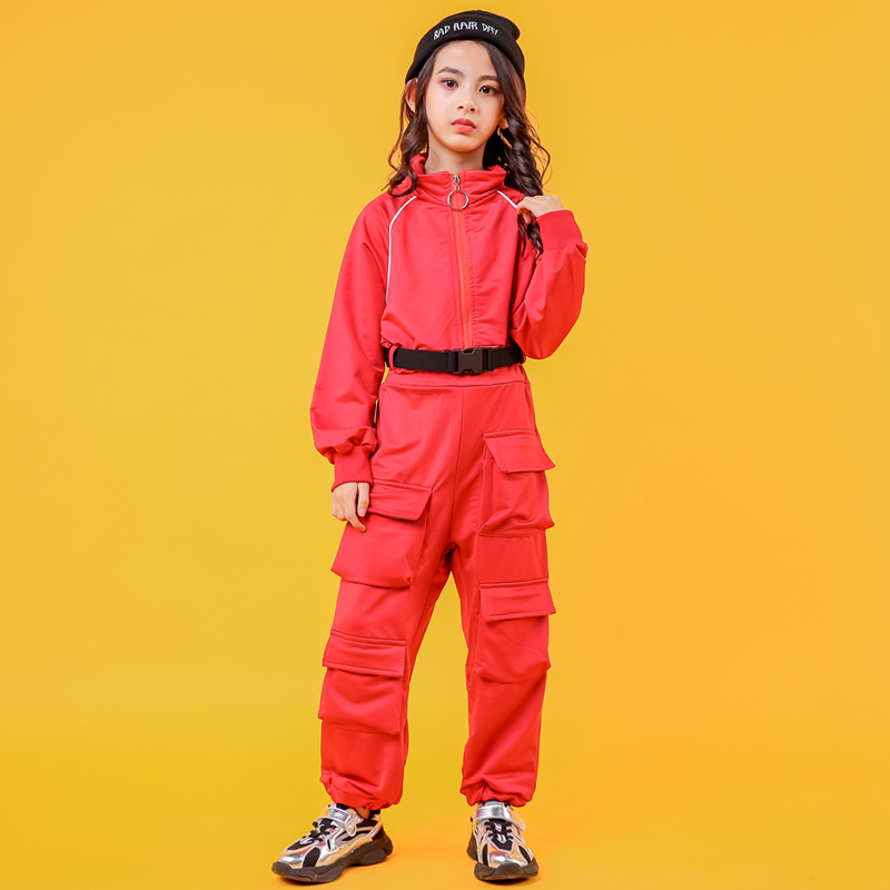 Children Ballroom Red Loose Hip Hop Clothing Jacket Pants Long Pants For Girls Boy Jazz Dance Costume Dancing Clothes Wear