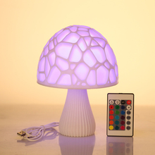 16 Colors 3D Print LED Mushroom Lamps With Remote Creative Night Light Lamp For Home Christmas Decoration Decor Gift
