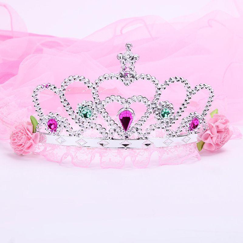 Child Girls Wedding Hairband Hollow Butterfly Tiara Crown Princess Flower Wreath Jewelry Rhinestone Mesh Veil Birthday Headband